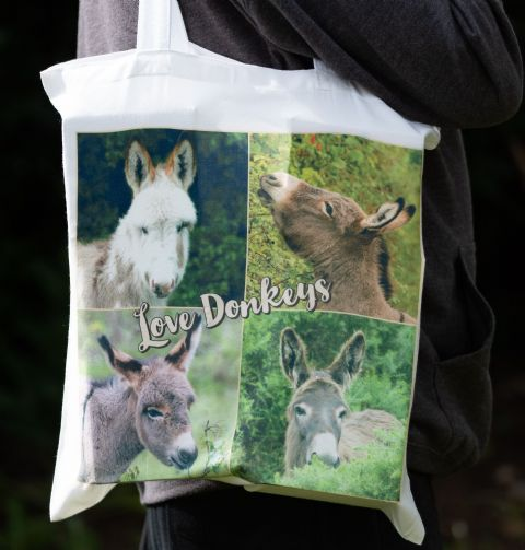 Donkey  'Love Donkeys' Soft Cotton Tote Bag